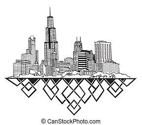 Chicago, IL Skyline. Black and white vector illustration EPS...