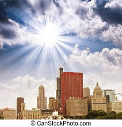 chicago, illinois., maravilloso, cielo, colores, encima, ciudad, rascacielos