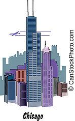 Chicago Illinois skyline.