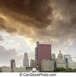 chicago, illinois., underbar, sky, färger, över, stad, skyskrapor