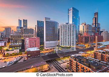Chicago, Illinois, USA downtown cityscape at dusk.