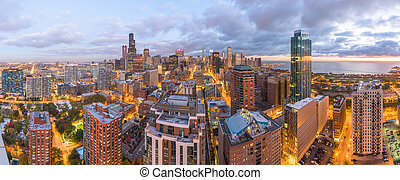 Chicago, Illinois, USA downtown city skyline from above at dusk.