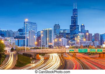 Chicago, Illinois, USA downtown skyline over highways