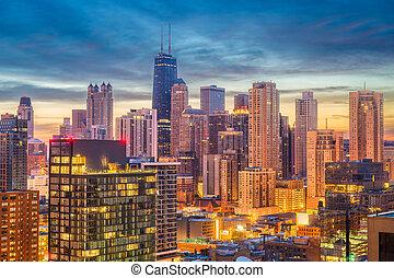 Chicago, Illinois, USA Skyline at Dusk - Chicago, Illinois,...