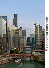 Chicago. - Image of Chicago downtown and river at summer ...