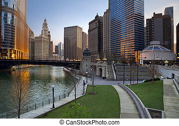 Chicago. - Image of Chicago downtown riverfront at sunrise.