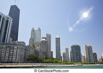 chicago, kustlijn, dichtbij, eik, straat