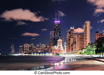 Chicago Lakefront - Chicago city urban skyscraper at night ...