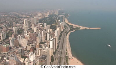 Chicago Lakeshore Drive - Aerial view of Lincoln Park and...