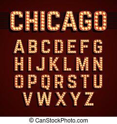chicago, lichter, schriftart, broadway