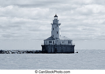 Light House of Chicago in Lake Michigan with cloud and blue sky.