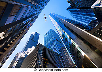 Chicago looking up - Looking up at Chicago's skyscrapers in...