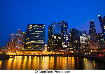 Chicago Loop skyline and Chicago River at evening, IL, USA