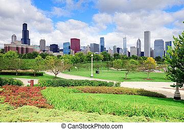 chicago, městská silueta, nad, sad