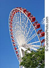 chicago, marinblå pir, pariserhjul, tillsluta
