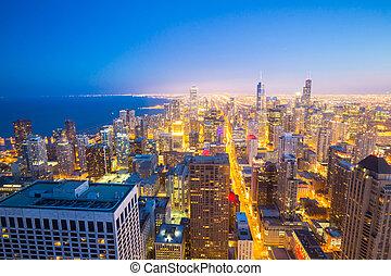 chicago, miasto, śródmieście, na, dusk.