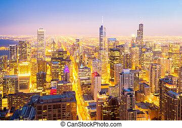 chicago, miasto, śródmieście, na, zmierzch