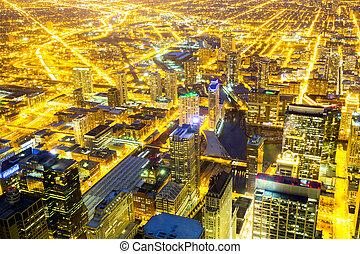 chicago, miasto, śródmieście, w nocy
