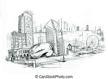 chicago, miasto, illustartion
