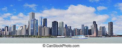 chicago, miasto, miejski skyline, panorama
