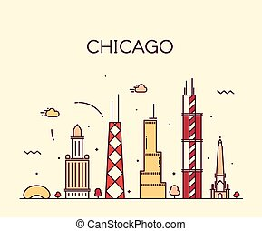 chicago, miasto skyline, modny, wektor, lina sztuka