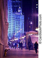 Chicago Michigan Avenue Vertical Photography After Dark. ...