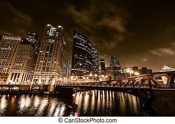 chicago, nacht, goldenes