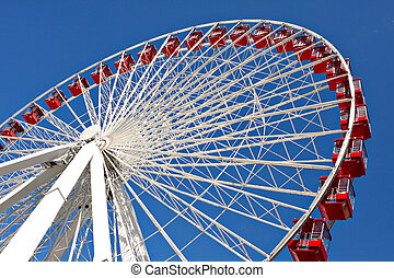 chicago navy pier giant ferris wheel close up