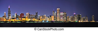Chicago night panorama - Chicago city downtown urban skyline...