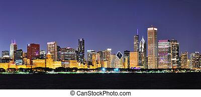 Chicago night panorama - Chicago city downtown urban skyline...