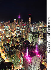 chicago, noche, vista aérea