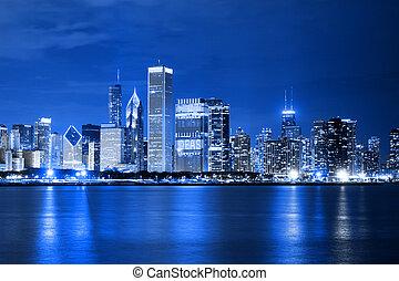 chicago), nubes, distrito, financiero, (night, vista