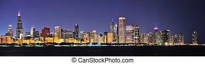 chicago, nuit, panorama