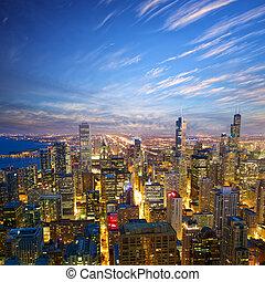 chicago, op, schemering