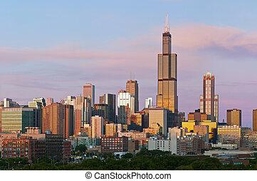 chicago, orizzonte, a, twilight.