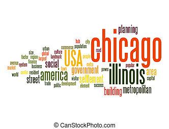 chicago, palavra, nuvem