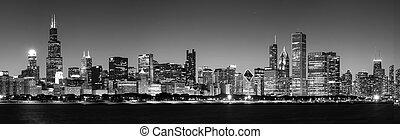 chicago, panorámico, contorno, negro, noche, blanco, vista