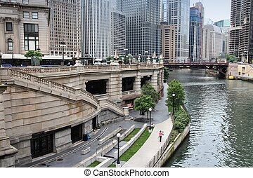 Chicago in Illinois, United States. City view with river.