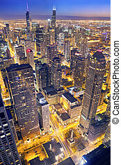 Chicago. - Aerial view of Chicago downtown at twilight from...