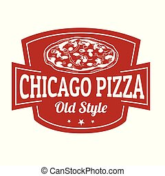 Chicago pizza sign or stamp