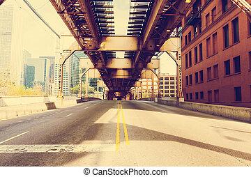 chicago, puente, -, vendimia, imagen, efecto