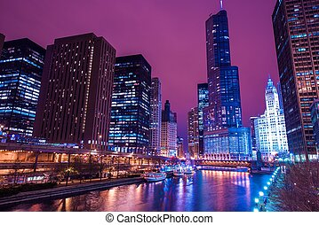 Chicago Reflections. Colorful Chicago River Reflection and...