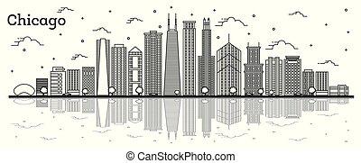 chicago, riflessioni, isolato, illinois, costruzioni, orizzonte, città, white., contorno, moderno