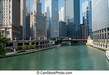 Chicago River City of Chicago Illinois, USA