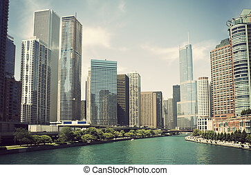 Chicago River surrounded by the skyscrapers