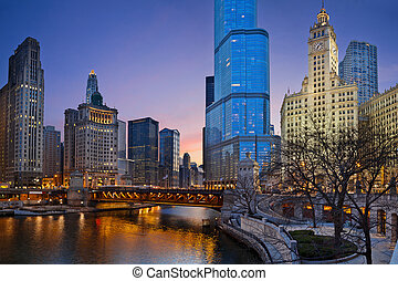 Image of Chicago downtown district at twilight.