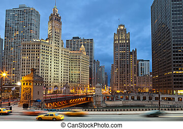 Chicago riverside - Image of Chicago downtown district at...