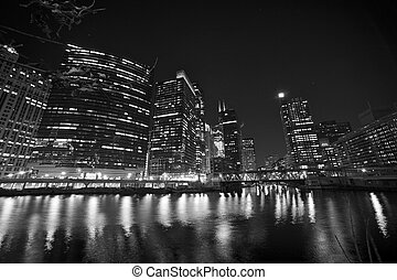 Chicago Riverwalk Black and White Photography. Chicago Downtown 2012