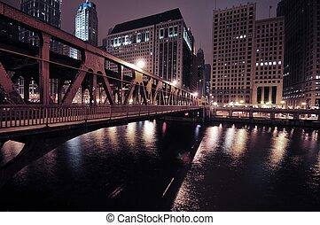 Chicago Riverwalk by Night. Chicago River.