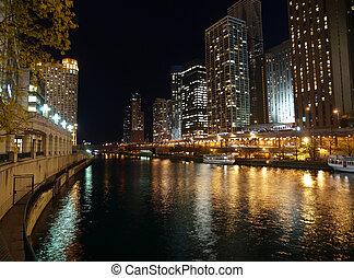 chicago rzeka, noc